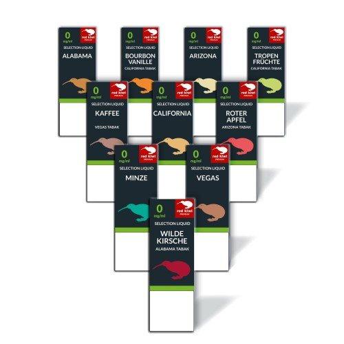 10x red kiwi Selection Liquid zum Probierpreis - Nikotinfrei 0mg