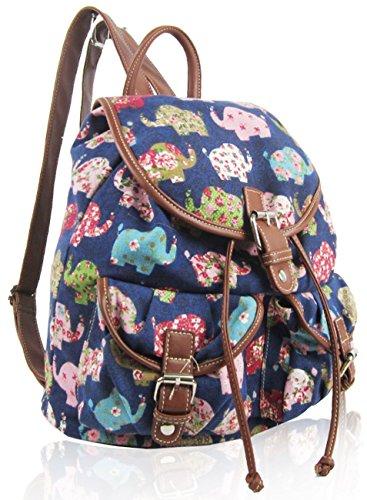 Kukubird Doppia Tasca Varie Emoji Unicorno Gatti Animali Modello Libro Scuola Palestra Uni Sport Classico Vintage Zaino Backpack Elephant Dark Blue