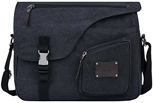 Umhängetasche Herren, Coofit Canvas Umhängetasche Vintage Schultasche Crossbody Tasche Schultertasche Umhängetasche Laptop Umhängetasche 14 zoll