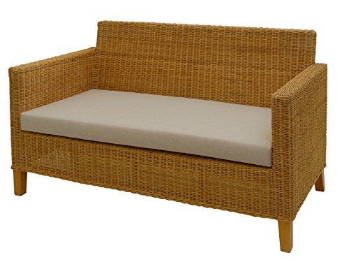 korb.outlet Rattan-Sofa 2-Sitzer Lounge in der Farbe Honig inkl. Sitzpolster Beige, Couch aus echtem Rattan