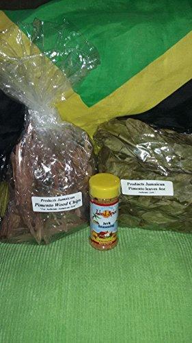 2 Lb 4 (Pimento Kissen, Holz Chips Jerk Pack Deal, 2lbs Holz, 4oz Pimento Kissen, Leaves & 8oz Jerk Würze)