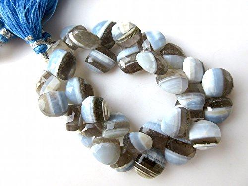 AAA Naturel Bleu gris BI COULEUR Opale à facettes en forme de cœur en argent 925/1000, perles, perles de 12 mm à 15 mm, Gds950, bleu/gris, 4 Inch, 15pcs