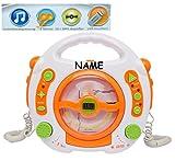 CD-Player - mit USB Anschluß / MP3 / Stick / 2 Mikrofonen / LED-Display - weiß - incl. Namen - tragbar Mikrofon - Kopfhöreranschluß - Programmiertasten - Karaoke - Netzadapteranschluß für Kinder Mädchen und Jungen