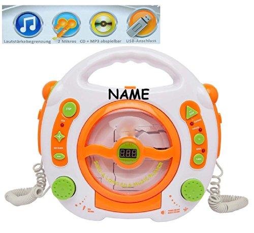 Unbekannt CD-Player - mit USB Anschluß / MP3 / Stick / 2 Mikrofonen / LED-Display - weiß - incl. Namen - tragbar Mikrofon - Kopfhöreranschluß - Programmiertasten - Kara..
