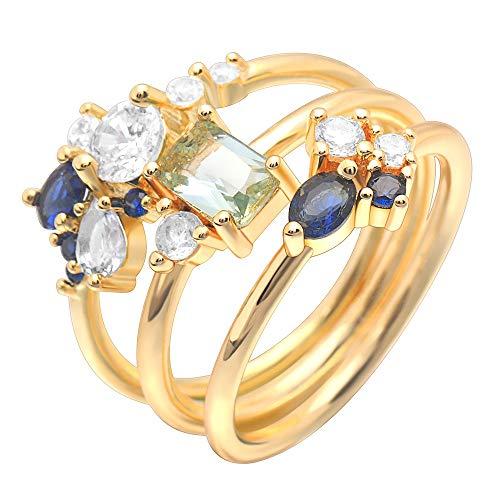 SSLL Ring damen Floral Hochzeit Ring Set Gold Kristall Cz 3 Stück Ring Damenmode Party Ring, 9 (Hochzeit Ring 3 Stück Set)