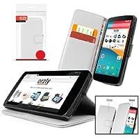 Orzly® - LG NEXUS 5 Funda con Auto Standby ( Sensores Automáticos del Sueño / Vigilia ) Estilo de BLANCO - Caja con Soporte integrado (Alias: Orzly® - Multi-Function Wallet Stand Case para GOOGLE NEXUS 5 SmartPhone / Teléfono Móvil - 2013 modelo ) ESTUCHE INCLUYE: Tapa Magnética + Cartera & Billetera integrado