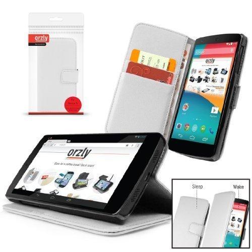 Orzly® - Multi-Function Wallet Stand Case für LG NEXUS 5 mit Auto Standby ( Magnetischen Schlaf / Wach Sensor ) WEIß KUNSTLEDER-STIL BRIEFTASCHE / Fall / Hülle / Schutzhülle mit Integrierte Stand für GOOGLE NEXUS 5 SmartPhone / Mobile Handy ( 2013 modell version )