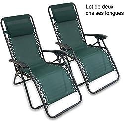 Sotech - Transat de Plage Pliable,2 Chaises Longues,Chaise Longue Inclinable,Fauteuil Relax avec Coussin,Charge Maximale 100 Kg,165 x 112 x 65 cm,Vert