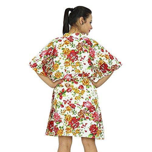 Indianbeautifulart -  Vestito  - Kimono - Floreale - Donna nicht-gerade weiss