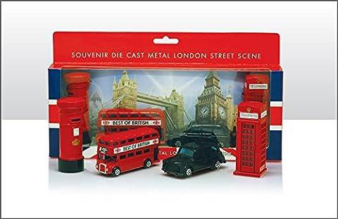 London Souvenir / Die Cast collectionner 8-9cm de longueur Modèle ensemble contenant Bus, Taxi, Cabine téléphonique et Post Box