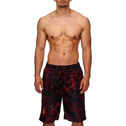 Bade Boxer Shorts FLAMES | die vielleicht heißeste Schwimmhose der Welt, Größenauswahl:S (T-shirt Emt-schwarz)