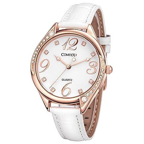 Comtex Montre femme blanc Cuir Cadran Diamant en or rose Bracelet en cuir blanc
