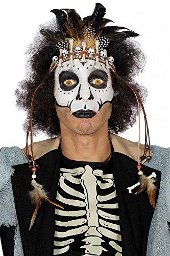 shoperama Voodoo Stirnband mit Totenköpfen Knochen und Federn Kostüm-Zubehör Kopfschmuck Kopfband Halloween Indianer