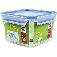 Emsa 508537 Quadratische Frischhaltedose mit Deckel, 1.75 Liter, Transparent/Blau, Clip & Close