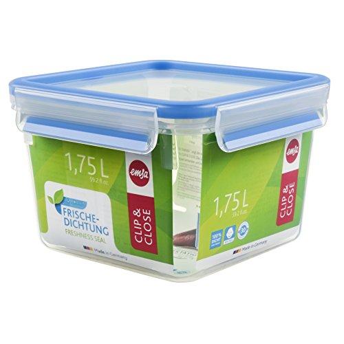 Emsa Clip & Close 508537 Contenitore salva freschezza quadrato 1,75 Litro ERMETICO con guarnizione salva goccia e freschezza