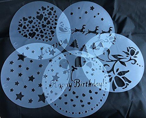 Torten-Schablonen-Tatoo-Kuchen-Dekoration-5er-Set-Geburtstag-Happy-Bithday-Frhling-Blumen-Herzen-Muster-Sterne-Weihnachten-Verzierung-von-ROYAL-HOUSEWARE
