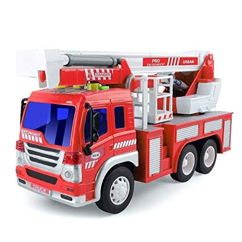 Spielzeug für 2 Jahre alten Jungen Reibung Gefahren LKW Fahrzeug Mit Lichtern und Tönen, Früh Bildung Auto Spielzeug Trägheit Fahrzeuge Für Kinder und Kleinkinder (Single Feuerleiter Lastwagen) (Jungen Spielzeug Alter 2)