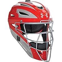 Under Armour 2-Tone receptor de béisbol profesional de adultos del casco, plateado (Scarlet/Silver)