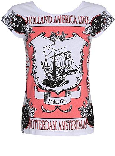 oodji Ultra Damen Lässisges Baumwoll-T-Shirt Weiß (1043P)