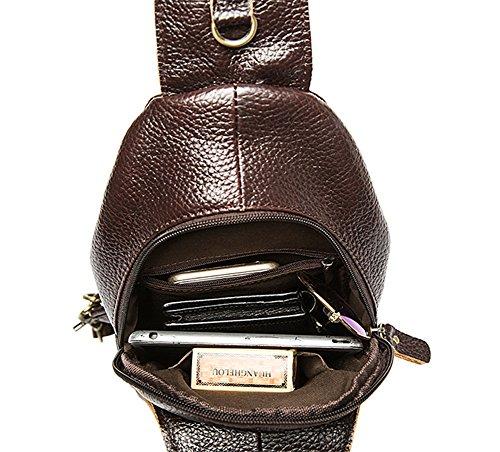 Genda 2Archer Travel Safe Front Umhängetasche echt Leder Crossbody Brusttasche (Schwarz) Kaffee