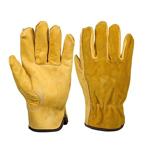 ROKFSCL Gelb Leder Handschuhe Schutz Sicherheit Garten Arbeitsmarkt Handschuhe Tragen Safety Tools für Fahren Reiten Garten-Farm