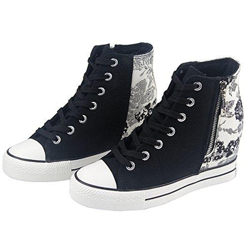 Montante Chaussure Sneakers Basket Confort Femme Compensées Toile cTFK1J3l