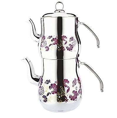Lines 7000Ç?ra?an Théière pour thé à la turque En acier inoxydable Capacité totale 4,6 l Poignée en métal