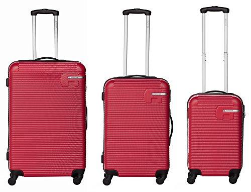 Bannisters New York Hudson Reisekoffer 3er-Set Hartschale aus robustem ABS mit Zahlenschlos (Weinrot)