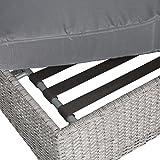 greemotion Rattan-Lounge Bali, Sofa & Bett aus Polyrattan, indoor & outdoor, 2er Garten-Sofa inkl. Kissen & Auflagen, Daybed mit Stahl-Gestell, grau - 11