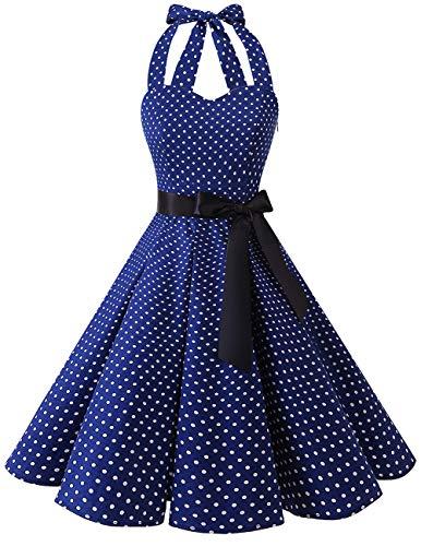 bridesmay 1950er Retro Rockabilly Neckholder Cocktail Abendkleid Petticoat Faltenrock Navy Small White Dot 3XL