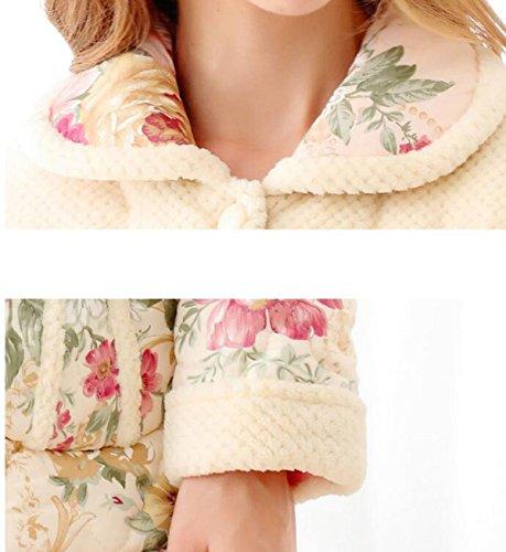 QPALZM Pigiami Di Cotone In Tessuto Di Ispessimento Invernale Delle Donne Vestito Elegante Floreale Di Autunno E Inverno Caldo A Tre Strati Beige