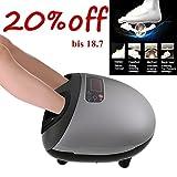 Qulista 3D Fernbedienung Fuß-Reflexzonen-Massagegerät Familie elektrisch mit Shiatsu-, Knetmassage, Roll-, Luftdruck- und Wärmefunktion, 100% Isolierung, LED Display