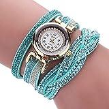 Fittingran Il Braccialetto delle Donne Guarda Le Signore della radura Che Guarda Gli Orologi Femminili sull'orologio di Cuoio di Vendita (Blu)