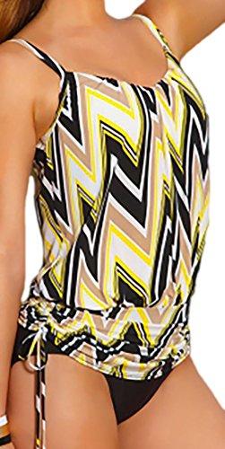 erdbeerloft - Damen Badeanzug Onepiece Geometrisches Muster Zick Zack, S, Schwarz Gelb Weiß (Piece One Asymmetrische)