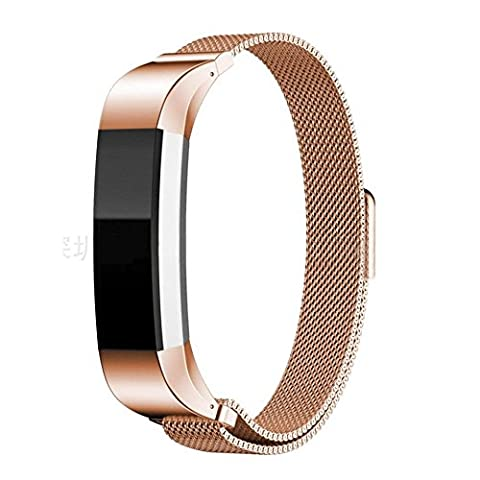 Replacement Milanese Stainless Steel Watch Strap Wristband For Fitbit Alta / Alta HR (Rose Gold)
