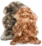 Zaloop Merino Schaffell Lammfell geflammt stracciatella ökologische Gerbung versch. Größen (hell geflammt, ca. 100-110 cm)