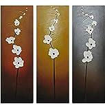 Wieco Art Flores obras de arte decorativo moderno y contemporáneo 3paneles 100% diseño Floral pintado a mano pinturas al óleo sobre lienzo decoración para salón o dormitorio decoración para el hogar