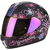 Scorpion Casco Exo 390Chica Integral Moto Mujer Decoración Negro Mate Rosa