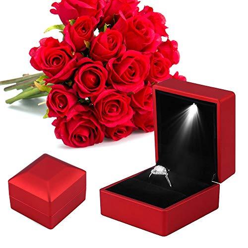 LED-Licht Ring Box, 4 Farben Modische LED Beleuchtet Ring Lagerung Schmuckschatulle Vitrine Geschenk(rot)