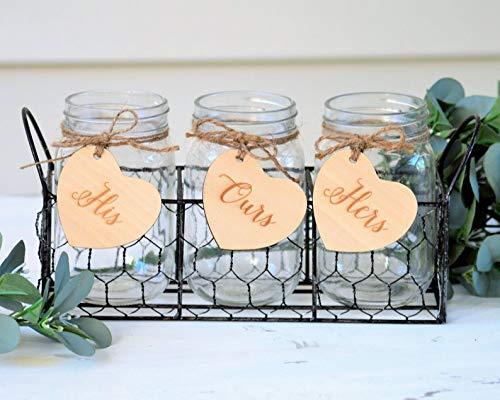 son Jar Sand Zeremonie-Set mit Halter rustikale Hochzeit Einheit Zeremonie Halter mit Herzen Strand Hochzeit Einheit Sand-Set ()