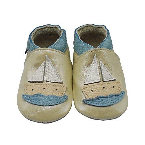 Mejale Karikatur Segelboot Leder Babyschuhe Lauflernschuhe Krabbelschuhe Kleinkind Kinderschuhe Hausschuhe Pearl Beige