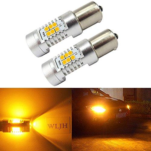 WLJH BAU15S Bernstein / Gelb LED-Licht Extrem Helle 21W 2835 21SMD Linse LED Rückleuchten Schwanz Blinker Seitenmarkierungsleuchten, Pack von 2