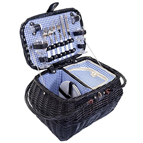 Mendler Picknickkorb-Set für 2 Personen, Picknicktasche + Kühlfach, Porzellan Glas Edelstahl, blau-weiß