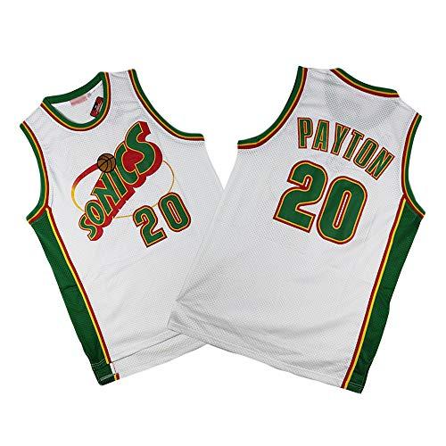 Z-ZFY Herren Trikot NBA Gary Payton # 20 Oklahoma City Thunder (Seattle Supersonics) Basketball Ärmelloses T-Shirt Atmungsaktives, Schweißabsorbierendes Material,Xl180~185cm/85~95kg