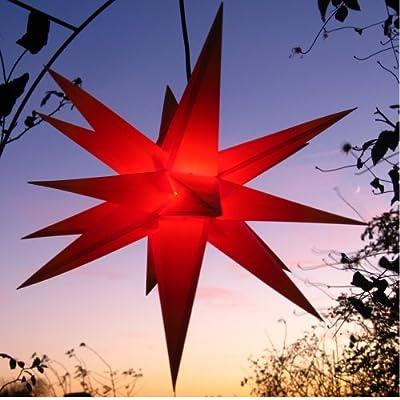 Außenstern rot - beleuchteter Stern 55-60 cm Weihnachtsstern Leuchtstern Faltstern von Werterhalt ums Haus - Lampenhans.de