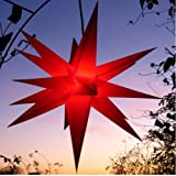 Außenstern rot - beleuchteter Stern 55-60 cm Weihnachtsstern  Leuchtstern Faltstern, wetterfest und beste Verarbeitung