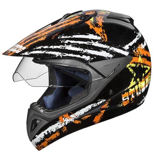 Studds Motocross D5 Helmet With Visor (Black N10, XL)