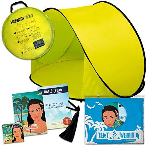 """Tenda da spiaggia per bambini """"pluto beach"""" ad apertura istantanea. protegge i bambini dal sole, vento e pioggia. ottima per utilizzo in spiaggia o al parco. in omaggio un libro da colorare! gialla."""