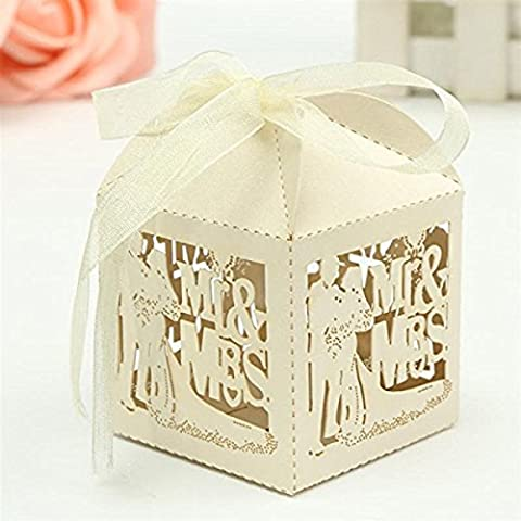 Tinksky 50pcs Mr Mrs Bride Groom Laser Cut Wedding Favor Box Birthday Shower Party Candy Boxes (Creamy