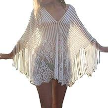juqilu De las Mujeres Playa Poncho Demasiado Grande Playa Vestidos Suelto Sayo Blusa Vestidos Sólido Colores